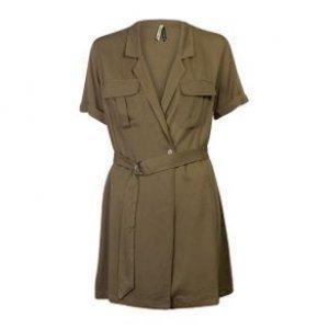Vestido Utilitário Transpassado Com Cinto Oliva Tamanho P