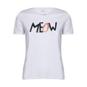 Camiseta Feminina Meow Cat Branco Tamanho P