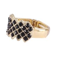 Anel Armazem RR Bijoux cristais pretos dourado - Dourado