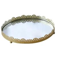 Bandeja espelhada redonda de metal com base aveludada 17.5cm - Eu Quero Presentear