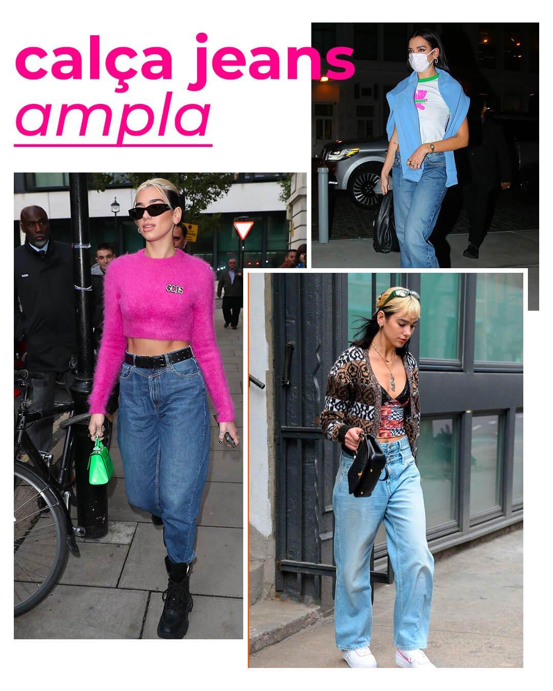 It girls - Calça jeans baggy - Dua Lipa - Verão - Street Style - https://stealthelook.com.br