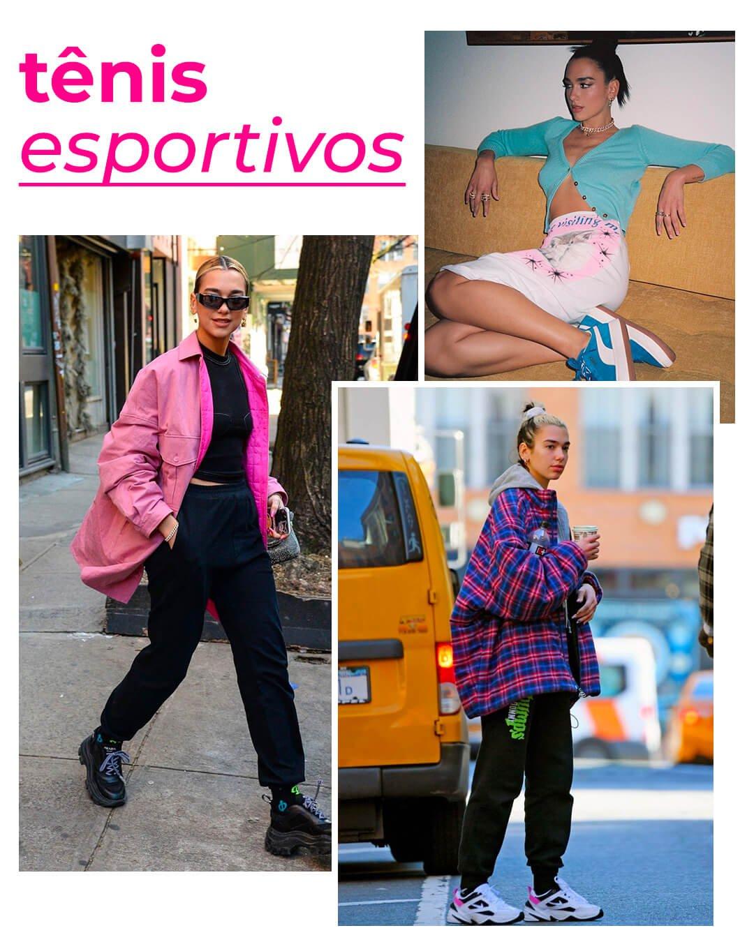 It girls - Tênis esportivo - Dua Lipa - Outono - Street Style - https://stealthelook.com.br