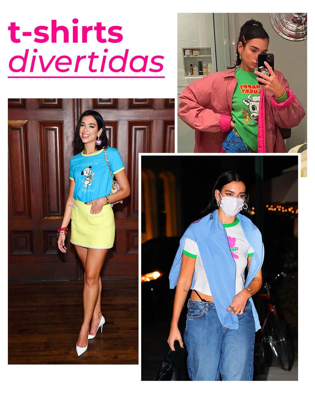 It girls - T-shirt - Dua Lipa - Outono - Street Style - https://stealthelook.com.br