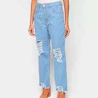 Calça Jeans Cropped Exco Com Puídos Cintura Alta Feminina - Azul Claro