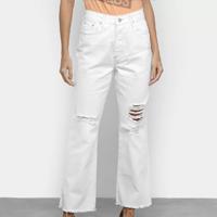 Calça Jeans Disparate Reta Com Puídos Feminina - Branco