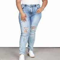 Calça Jeans Besni Boyfriend Plus Destroyed Feminina - Azul Claro