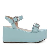 Sandália Plataforma Zatz Fivelas Feminina - Azul Claro