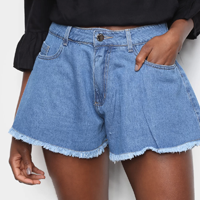 Short Jeans Sawary Godê Barra a Fio Feminino - Azul