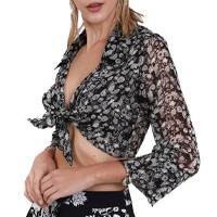 Camisa Amir Slama Cropped Margarida Feminina - Preto
