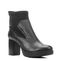 Bota Couro Shoestock Cano Curto Meia Pata Feminina - Preto