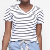 Camiseta Tommy Hilfiger Listrada Feminina - Colorido