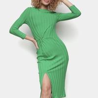 Vestido Sommer Tubinho Midi Manga Longa Canelado Com Fenda - Verde