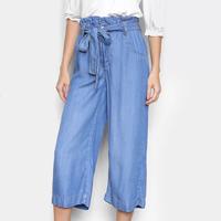 Calça Jeans Cambos Pantacourt Amarração Feminina - Azul Claro