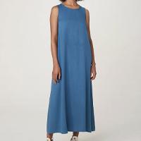 Vestido Hering Midi Sem Manga Evasê Em Tecido Feminino - Azul