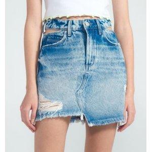 Saia Jeans com Puídos e Vazado no Cós