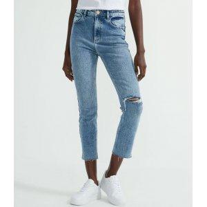 Calça Reta Cropped Jeans com Barra Desfiada e Rasgos