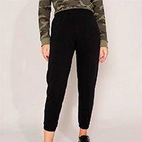 calça jogger de moletom básica com bolsos cintura média preta