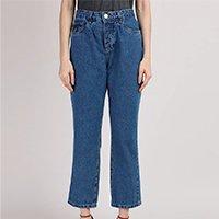 calça jeans feminina mindset reta loose copenhagen cintura super alta azul médio
