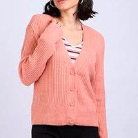 cardigan feminino básico em tricô com botões rosa