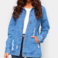 Jaqueta Jeans Cambos Alongada Puídos Feminina - Azul