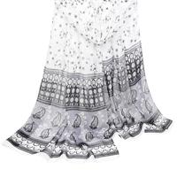 Echarpe Lenço Abstrato Tons Feminino - Branco+Cinza