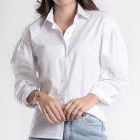 Camisa Oversized Tricoline Manga Longa - Branco