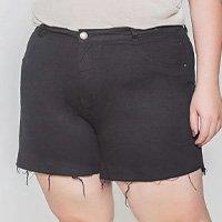 Short Sarja Com Elastano Plus Size - Preto
