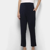 Calça Maria Filó Alfaiataria Listrada Cintura Alta Feminina - Azul Escuro