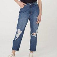Calça Jeans Feminina Mom Cintura Super Alta Destroyed - Azul
