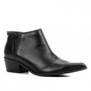 Bota Couro Shoestock Cano Curto Feminina - Feminino - Preto