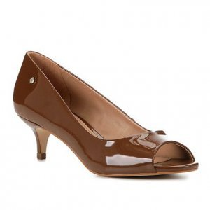 Peep Toe Shoestock Salto Baixo Verniz Naked - Feminino - Avelã