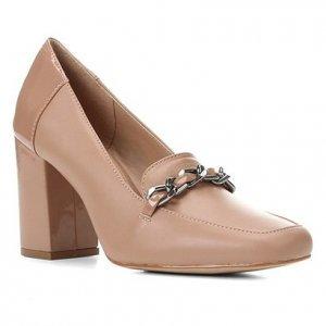 Mocassim Couro Shoestock Corrente Salto Alto Feminino - Feminino - Nude