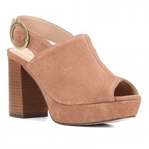 Sandália Couro Shoestock Meia Pata Camurção Feminina - Feminino - Marrom