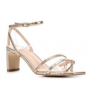 Sandália Couro Shoestock Bico Quadrado Piton Feminina - Feminino - Dourado