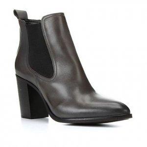 Bota Chelsea Shoestock Couro Salto Alto Feminina - Feminino - Cinza