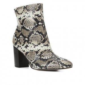 Bota Couro Shoestock Cobra Cano Curto Feminina - Feminino - Off White+Preto