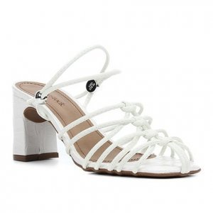 Sandália Shoestock Croco Tiras Salto Médio Feminina - Feminino - Branco