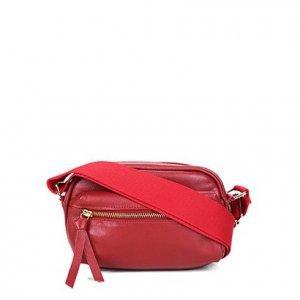 Shoulder Bag Couro Shoestock Transversal Gorgurão Feminina - Feminino - Vermelho