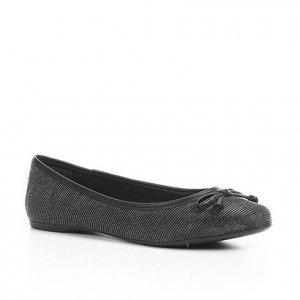 Sapatilha Shoestock Metalizada Laço Feminina - Feminino - Preto