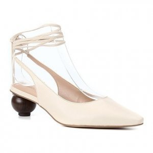 Scarpin Couro Shoestock Slingback Bico Fino Salto Baixo Redondo Feminino - Feminino - Off White