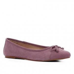 Sapatilha Couro Shoestock Laço Bordado Logo Feminina - Feminino - Lilás