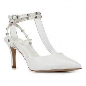 Scarpin Couro Shoestock Bride Rebite Strass Salto Alto - Feminino - Branco