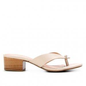 Tamanco Couro Shoestock Salto Bloco Baixo - Feminino - Bege