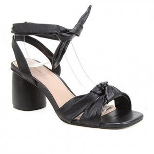 Sandália Couro Shoestock Lace Up Cali Salto Bloco Feminina - Feminino - Preto