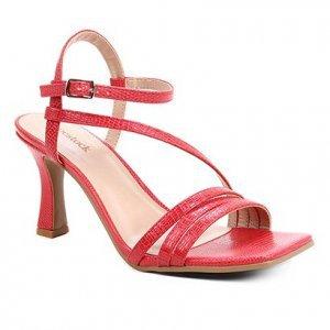 Sandália Shoestock Salto Sino Tiras Feminina - Feminino - Vermelho