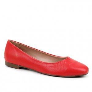 Sapatilha Couro Shoestock Comfy Bico Quadrado Feminina - Feminino - Vermelho
