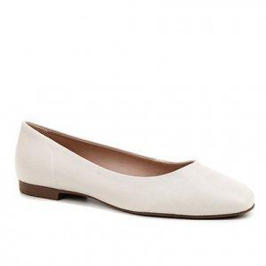 Sapatilha Couro Shoestock Comfy Bico Quadrado Feminina - Feminino - Off White