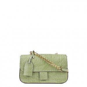 Bolsa Couro Shoestock Flap Croco Color Chain Feminina - Feminino - Verde Claro