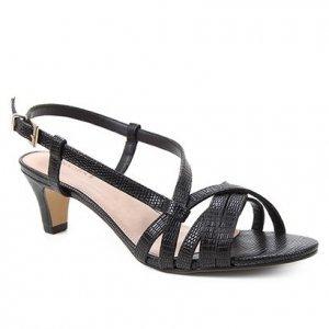 Sandália Shoestock Lezard Tiras Salto Baixo Feminina - Feminino - Preto