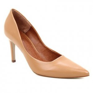 Scarpin Couro Shoestock Salto Alto Mestiço Graciela  - Feminino - Caramelo